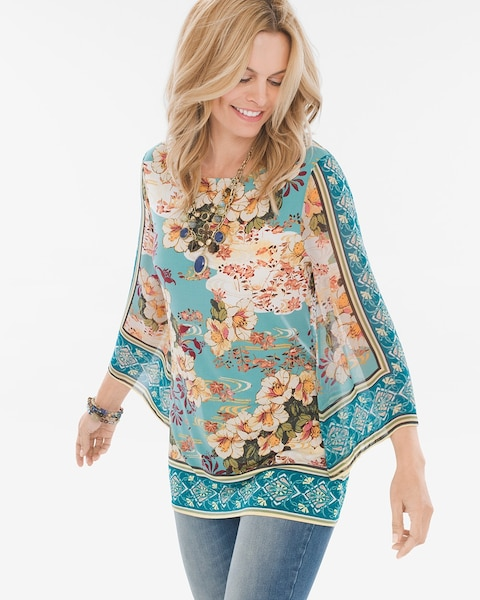 4ca6ef521b6 Return to thumbnail image selection Floral Kimono-Sleeve Top video preview  image