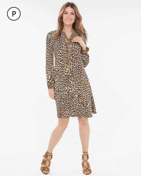 cedd0a76c9 Return to thumbnail image selection Petite Leopard-Print Dress video  preview image