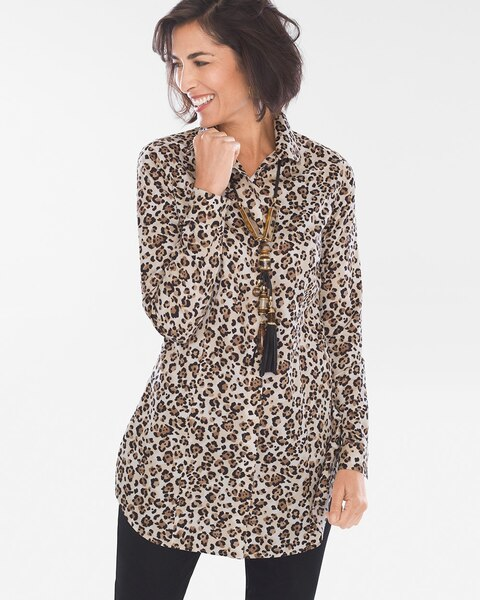 Return to thumbnail image selection Sateen Leopard-Print Tunic video  preview image 1df3442ac