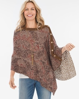 Chico's Reversible Warm Printed-Leopard Print Poncho | Tuggl