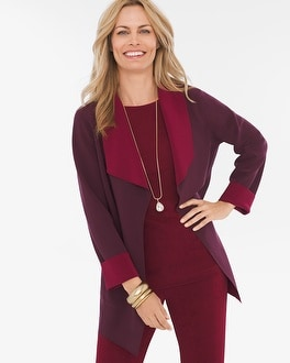 Chico's Reversible Mulberry Red-Deep Merlot Jacket | Tuggl