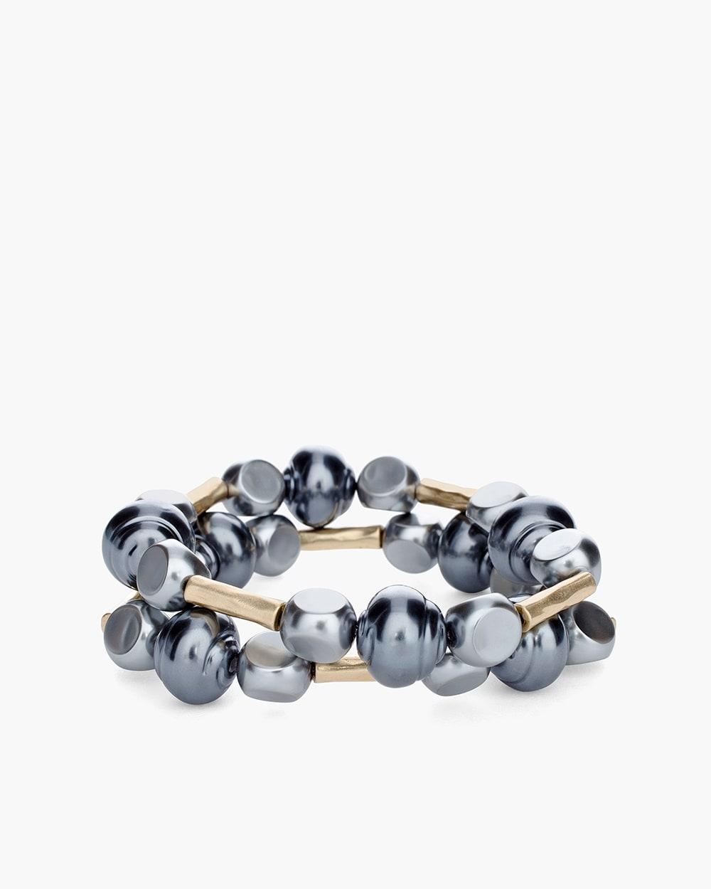 Gray Stone Double Strand Stretch Bracelet