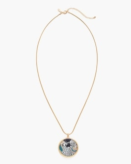 Chico's Reversible Mixed Print-Gold-Tone Pendant Necklace | Tuggl