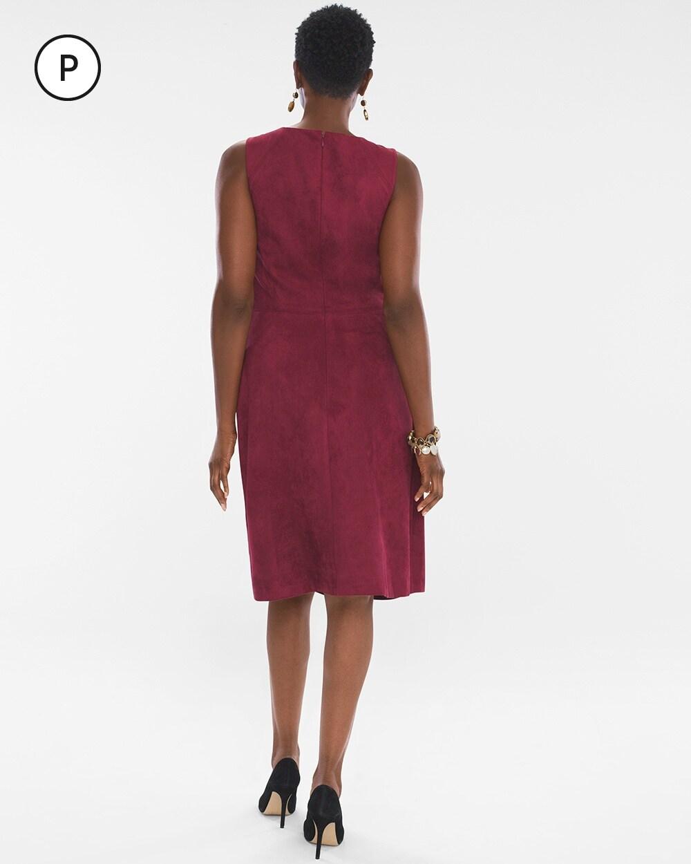 c3adab63 570244722. Video. Zoom. Petite Sueded Sheath Dress
