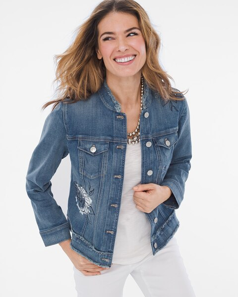 a75126d611 Return to thumbnail image selection Floral-Embroidered Frayed Denim Jacket  video preview image