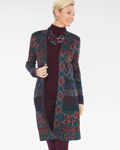 d109d058404 Return to thumbnail image selection Tapestry-Jacquard Cardigan video  preview image