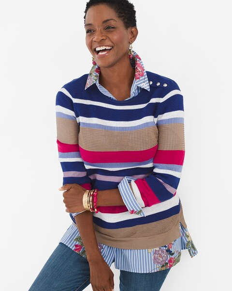 Striped Button Shoulder Pullover Sweater by Chico's
