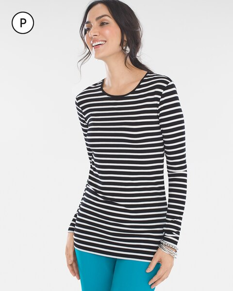 f53874f0a05c0 Petite Striped Long-Sleeve Top - Chico s