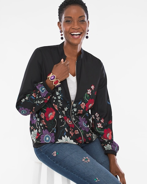 9c025b6bed9 Return to thumbnail image selection Reversible Floral-Dot Bomber Jacket  video preview image, click to start video