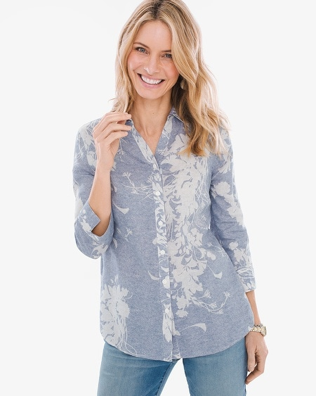 fa0a0079d707 No-Iron Linen Floral Shirt