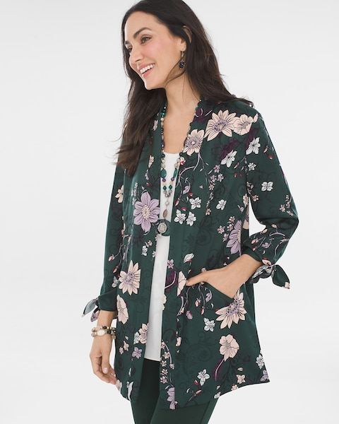 Beautiful Smart Causal Black Floral Blazer Jacket Cover Up 3//4 Tie Sleeves