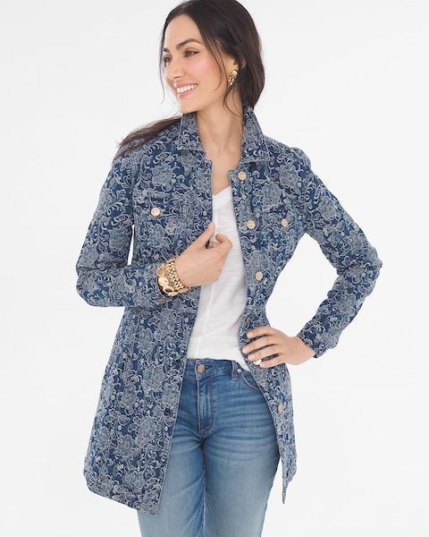 0646b43df8c Return to thumbnail image selection Elongated Jacquard Denim Jacket video  preview image