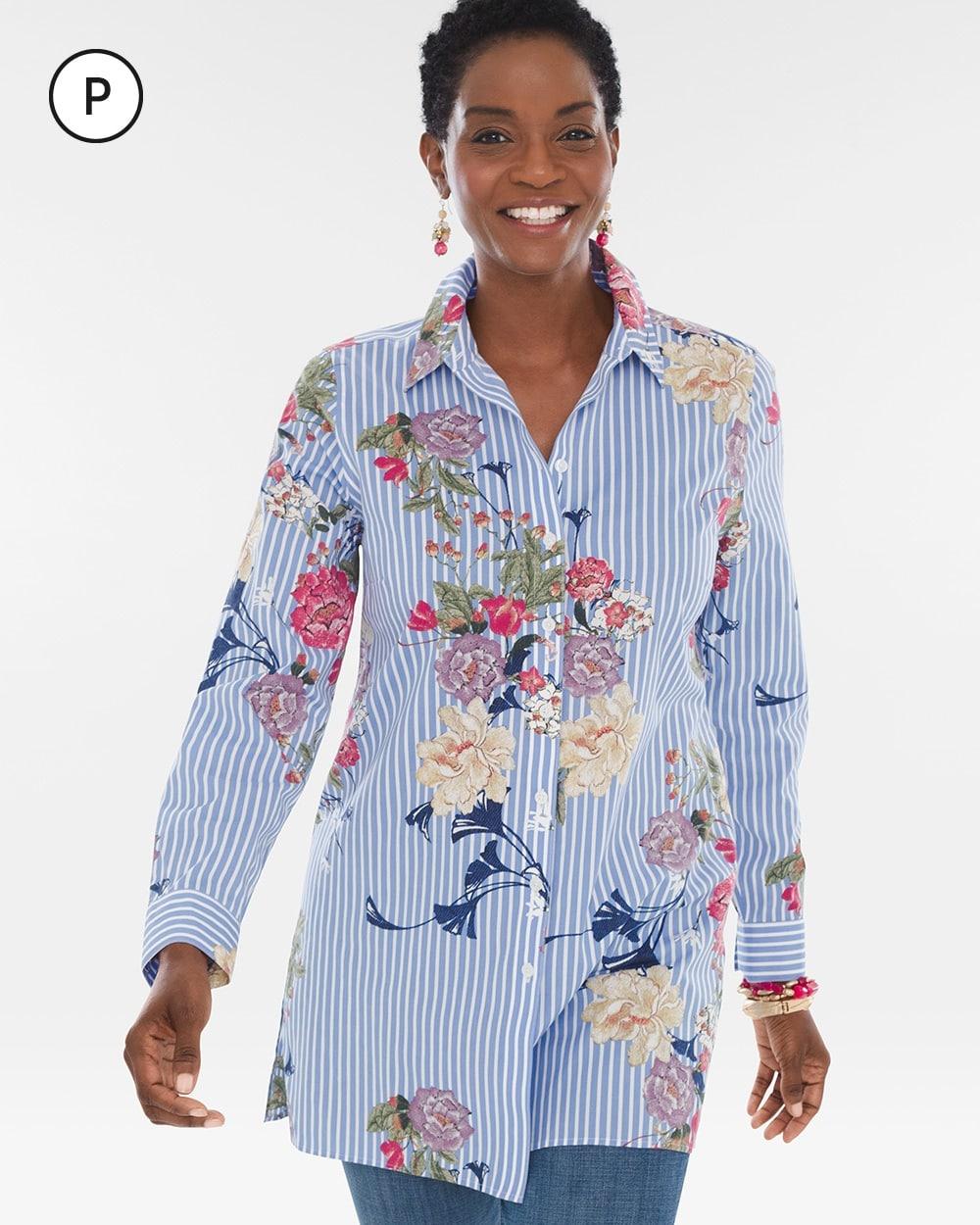 19ad8f2f687 Petite Cotton Floral Striped Shirt