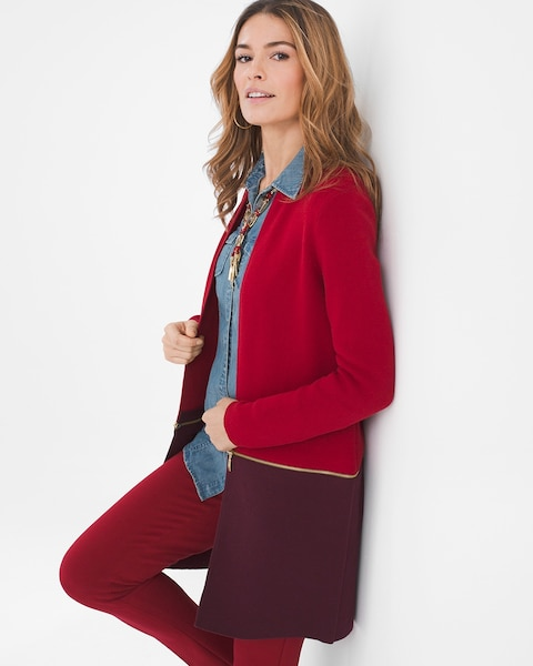 Return to thumbnail image selection Convertible Bi-Color Cardigan video  preview image 0dce1026a