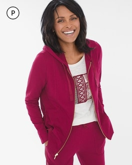 Chico's Zenergy Petite Satin-Trim Jacket at Chico's in Auburn, GA | Tuggl