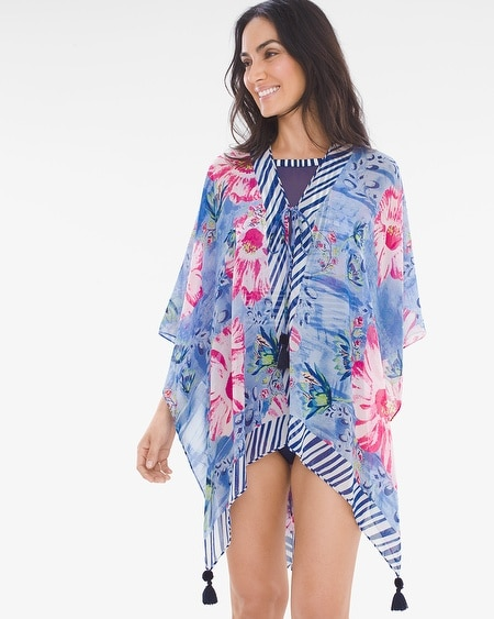 deb17dacad3a4 Chico's. Convertible Abstract Fleur Swim Cover-Up Ruana