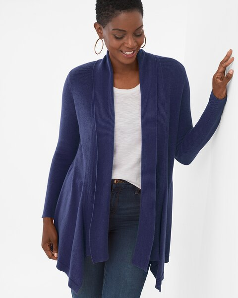 09b8c04d4aa Mixed-Stitch Drape-Front Cardigan - Chico's