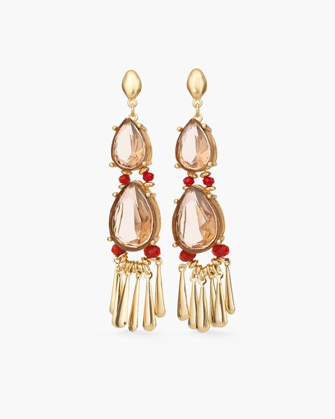 Red And Gold Tone Stone Chandelier Earrings