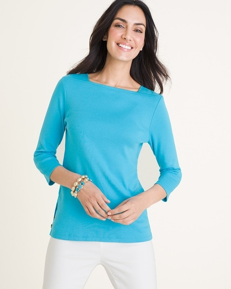 47d26b4412c445 Chico s. Supima Cotton Side-Button Bateau-Neck Top