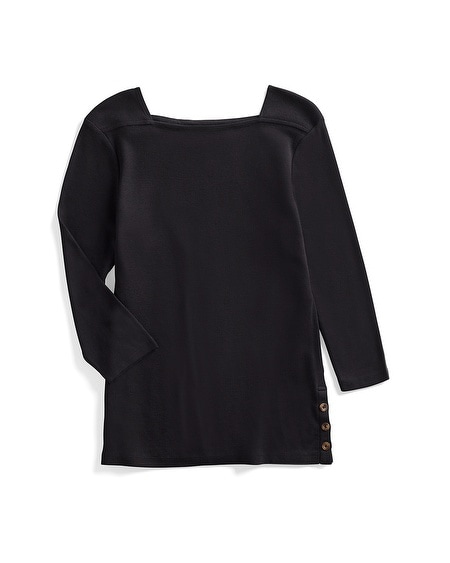 a0d542232bf Supima Cotton Side-Button Bateau-Neck Top