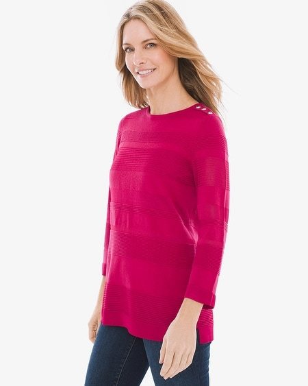 aa46676bacfb Textured Striped Button-Shoulder Pullover
