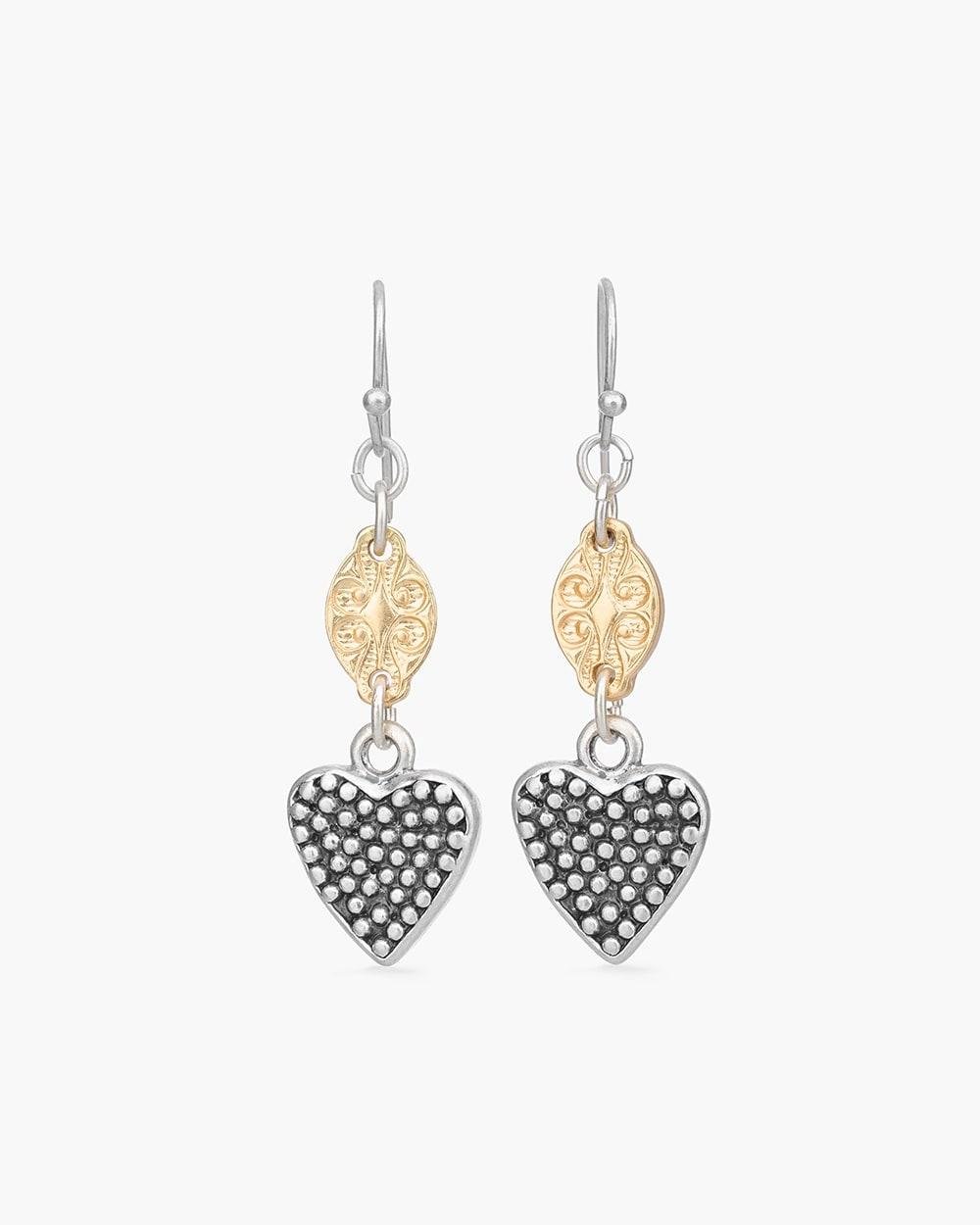5b205609d 570252421. Video. Zoom. Mixed-Metal Heart Linear Earrings