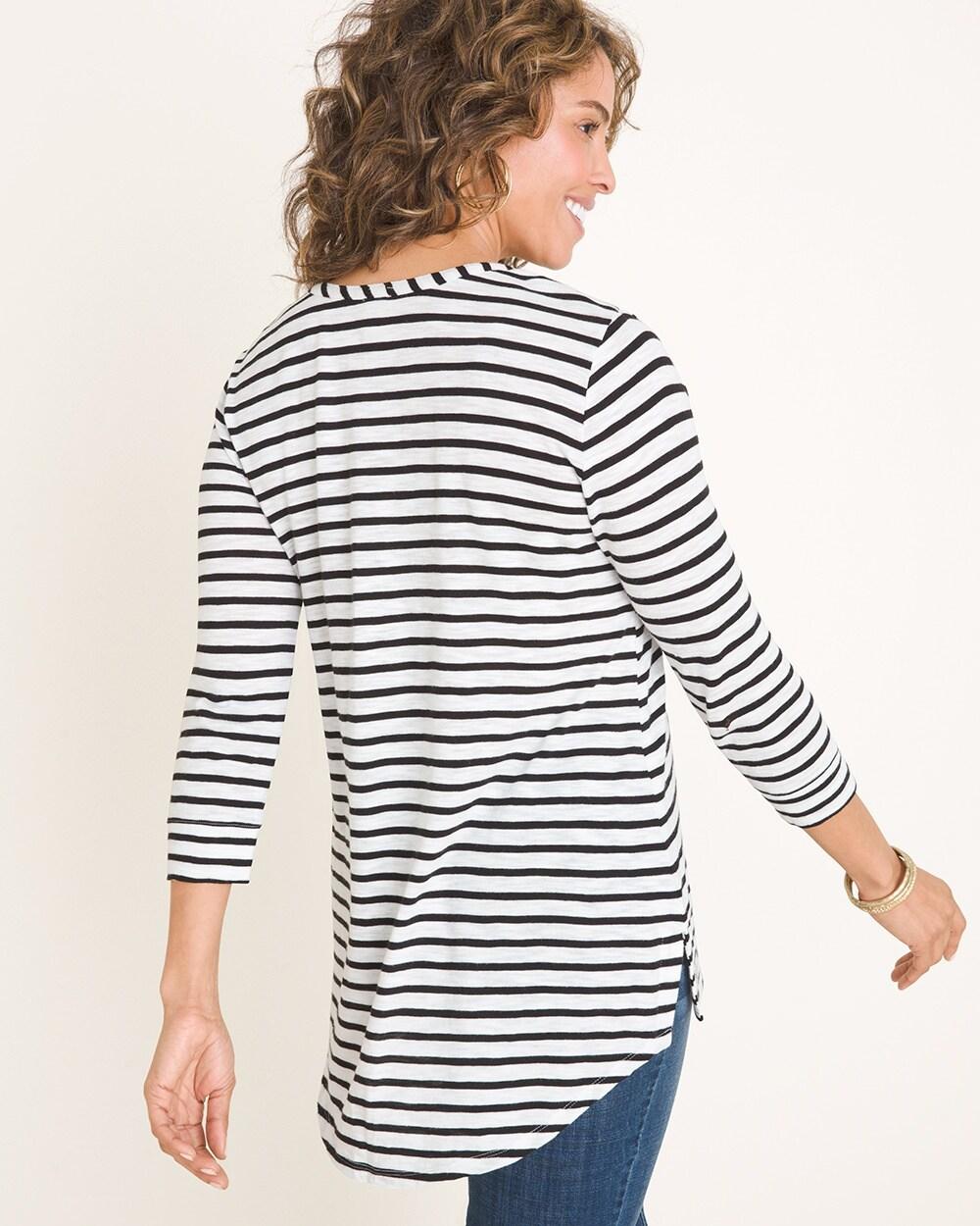 8e89f432 Return to thumbnail image selection Cotton-Blend Slub Striped 3/4-Sleeve Top