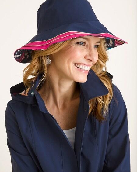 96530716654 Reversible Striped to Sailboat-Print Rain Hat