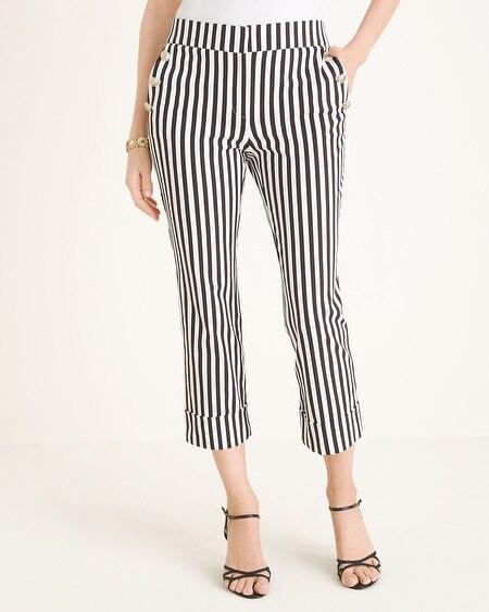 6f1aa625439 Striped Straight-Leg Cuffed Crop Pants