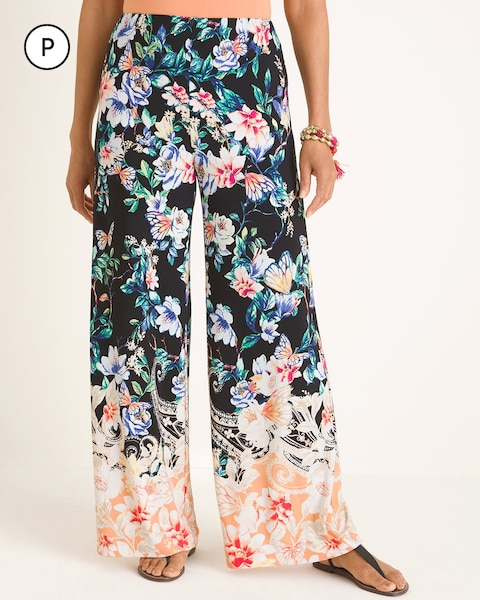 Petite Butterfly Garden-Print Palazzo Pants