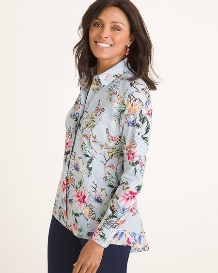 4c98b863bb0 No-Iron Cotton Butterfly Garden-Print Shirt