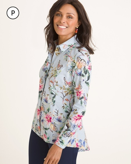 dd49008174af00 1 Colors. Chico s. No-Iron Petite Cotton Butterfly Garden-Print Shirt