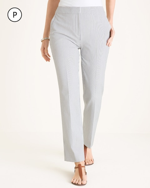 Petite Pinstriped Straight-Leg Pants