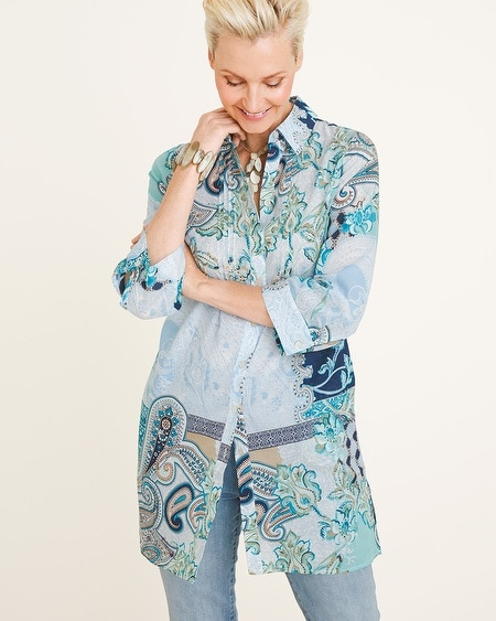 62cea9ffb2045 Blouses   Shirts. Chico s. Pleated Paisley Tunic