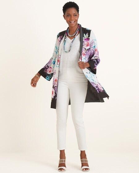 c4a743ebd1aa4 Reversible Floral Patchwork to Dot-Print Kimono