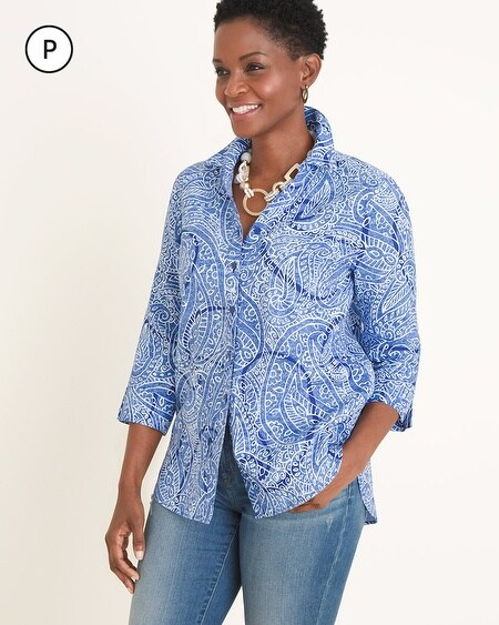 6bb4cd36 1 Colors. Chico's. Petite No-Iron Linen Paisley Shirt
