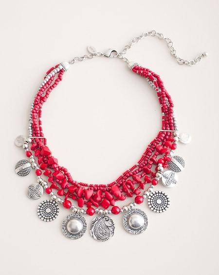 f0489ae80bc Cherry and Silver-Tone Bib Necklace