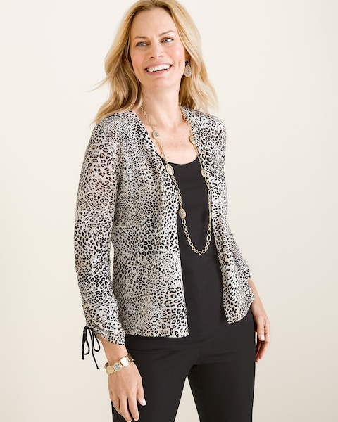 fb4e2fe1bfcf Return to thumbnail image selection Animal-Print Ruched-Sleeve Cardigan  video preview image, click to start video