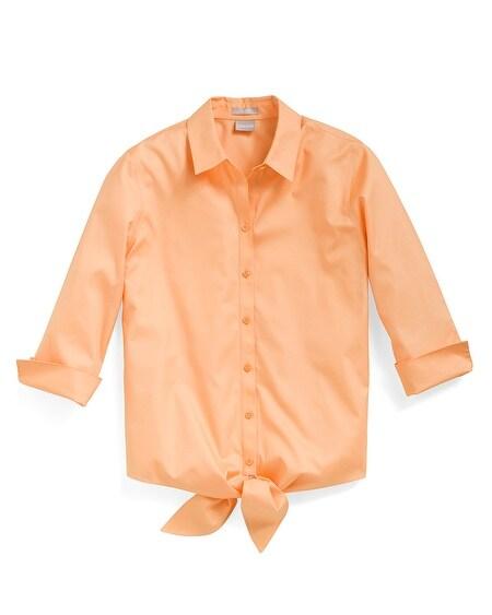 6840153ce1972a No-Iron Cotton Tie-Front Shirt
