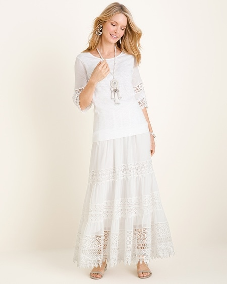 Lace-Inset Maxi Skirt