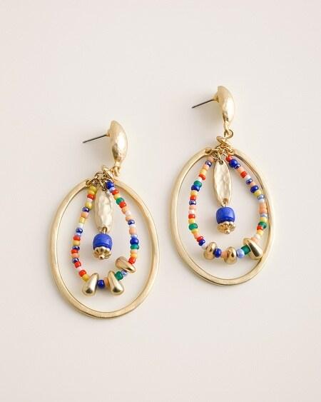 c8558a7d1 Beaded Multi-Color Drop-Hoop Earrings