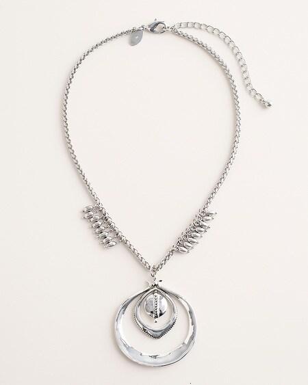 94ca7c8f904 Short Silver-Tone Textured Pendant Necklace