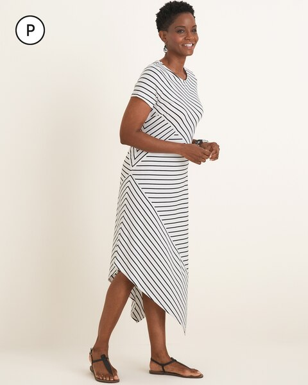 9e809deff42 Petite Striped Asymmetrical-Hem Maxi Dress - Chico s