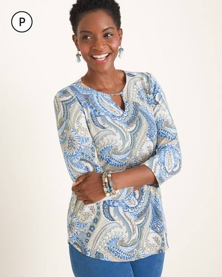 bed5d0ee Travelers Classic Petite Paisley Keyhole-Neckline Top