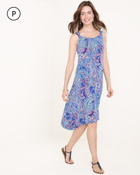 Petite Cool-Toned Paisley Dress