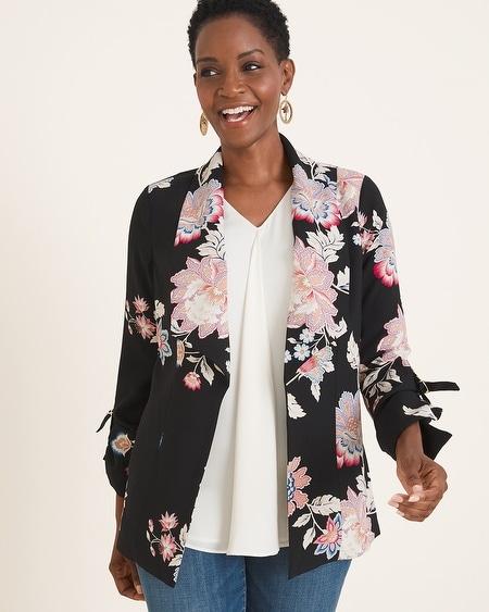 9ad1f820e Floral Drape-Front Jacket