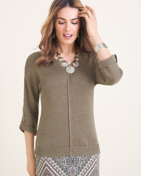 68b8754cabf Sleeve-Detail V-Neck Sweater