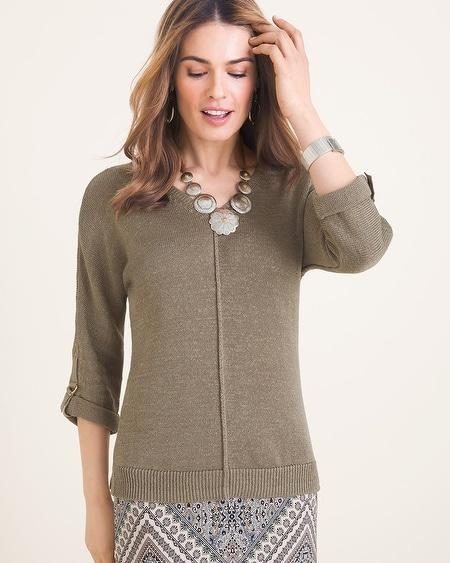 cd582c5d019 Sleeve-Detail V-Neck Sweater