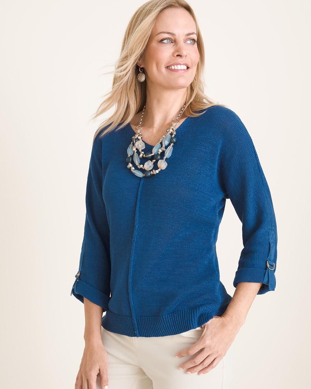 Sleeve Detail V Neck Sweater