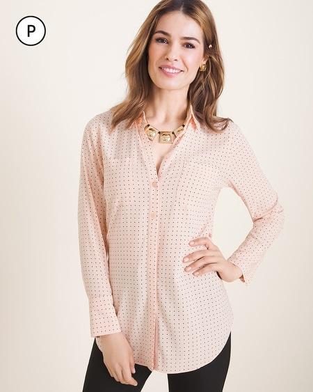 da28dc6097aef Petite Silky Soft Pindot Half-Placket Shirt